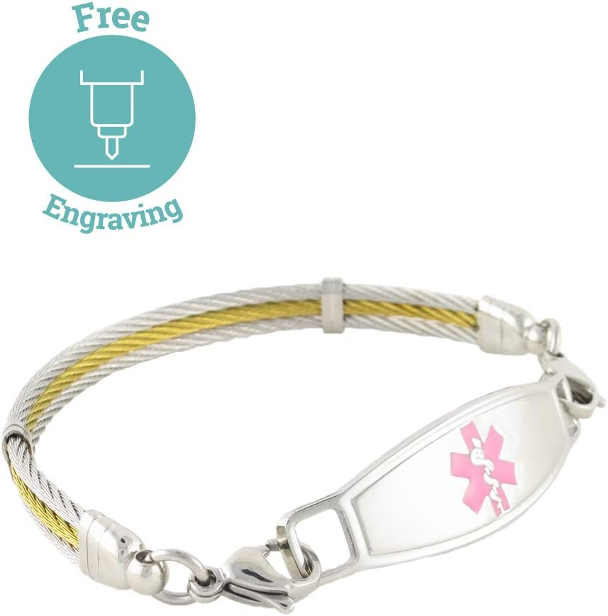 N Style ID Women s Golden Gate Stainless Steel Cable Personalized Medical Alert Bracelet – Pink – 8.25