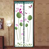 Magnetic Fly Screen Door, Dandelion Pattern Magnetic Fly Insect Screen Door Screen Mesh Curtain Fits Door, Magic Curtain Door Mesh (90210,green)