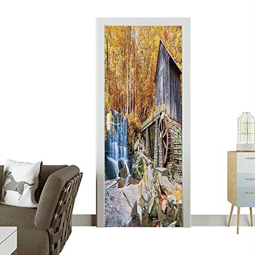 (Homesonne Door Art StickerFall Seas of Historic Water Mill and Waterfall Outdoor Nature Room decorationW17.1 x H78.7 INCH)