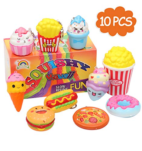 AOLIGE 10PCs Squishies Slow Rising Jumbo Kawaii Cute Donuts & Ice Cream & Pizza Creamy Scent Kids Party Toys Stress Reliever Toy with Keychain ()