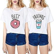 JINT Best Friends Tshirt 2-Pack Women Donut and Coffee Matching Shirt Tops