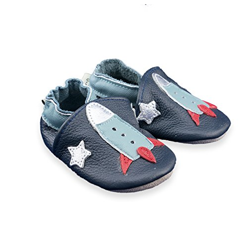 CoCoCute Baby Moccasins - Soft Genuine Leather Sole Baby Shoes and Toddler Moccasins for Boys and Girls (12-18 Months, Rocket) (Boys Soft Leather)