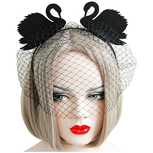 Easy Black Swan Halloween Costume (Lady Tea Party Kentucky Derby Fascinator Swan Veil Headband)