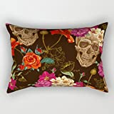 alphadecor skull throw pillow case ,best for home office,bar,living room,club,wedding,home 16 x 24 inches / 40 by 60 cm(double sides)