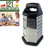Cheese Grater, Box Design, Stainless Steel, Multi-purpose, 6 Sided Hex, Cooking Secrets Ebook