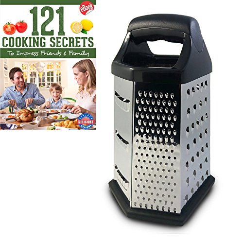 MyHomeBasics Box Graters for Kitchen, 6 Sided, Multi-purpose Cheese and Veggie Cutter, Stainless Steel With Cooking Secrets Ebook by MyHomeBasics