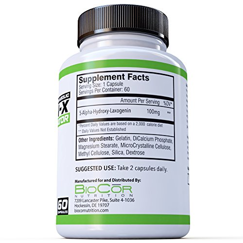 BioCor Nutrition LAXOGEN-X (Laxogenin 100mg) - Natural Testosterone Booster  & Anabolic Activator for Lean Muscle Mass and Cortisol Reduction - 60