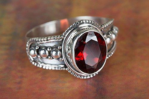 Faceted Garnet Ring, Handmade Ring, Stacking Ring, Everyday Ring, Wedding Ring, Vintage Ring, Gypsy Ring, Boho Ring, Bohemain Ring, Birthstone Jewelry, Delicate Ring, Post Ring