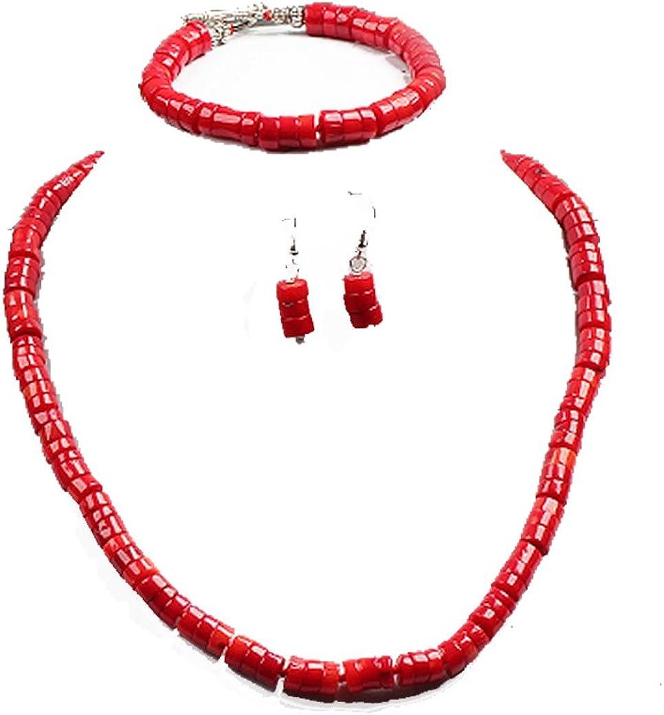 Splendido set di collana, bracciale e orecchini in corallo