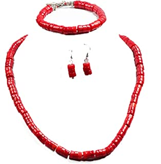 Stunning 8mm Natural Red Coral Necklace, Bracelet and Earrings Set - Presented in A Beautiful Jewellery Gift Box