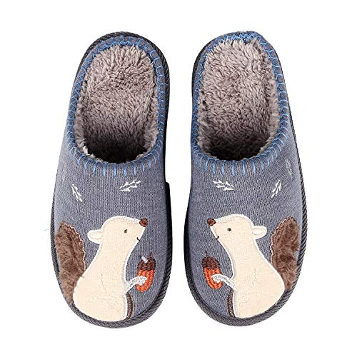 (Animal Memory Foam House Slippers Cute Squirrel Indoor Slippers w/Soft Waterproof Sole Fuzzy Clog Slippers B-X Blue)