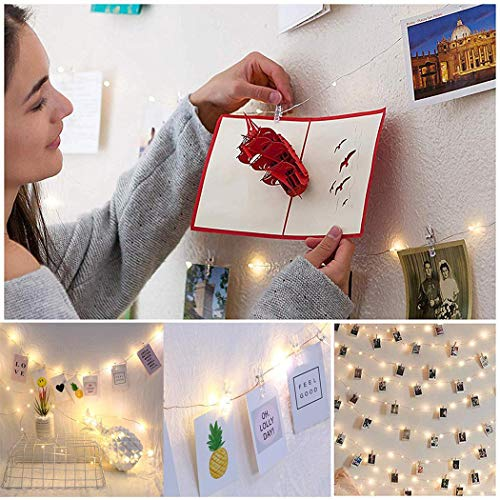 Legros8 Photo Clip String Lights Fairy String Lights with Clear Clips for Hanging Pictures Wall Decor Outdoor String Lights