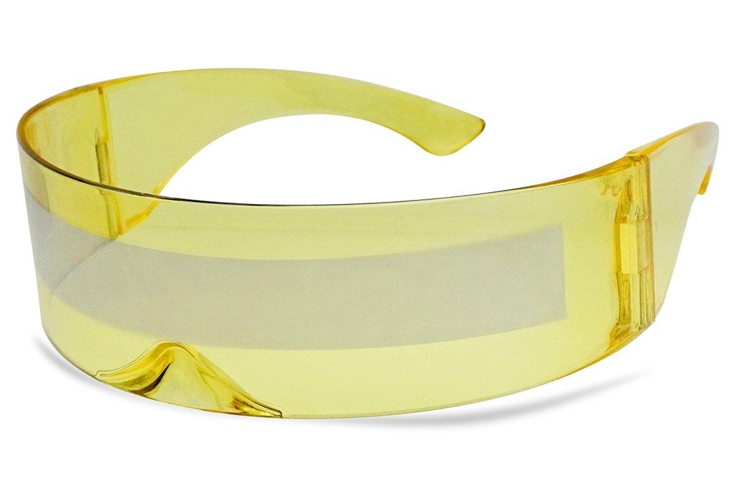 Futuristic Full Shield Mono Lens Wrap Around Cyclops Cosplay Sunglasses (Yellow Silver)