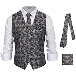 PAUL JONES Men's Paisley Dress Vest Set Neck Tie, Hanky for Suit or Tuxedo Size XL Grey