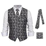 PAUL JONES Mens Paisley Tux Vest & Tie & Handkerchief 3-Piece Set for Suit Tuxedo
