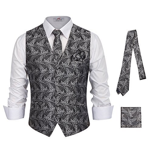Men's 3-Piece Paisley Vest for Sleek Looks On Formal Occasions Size 2XL Grey