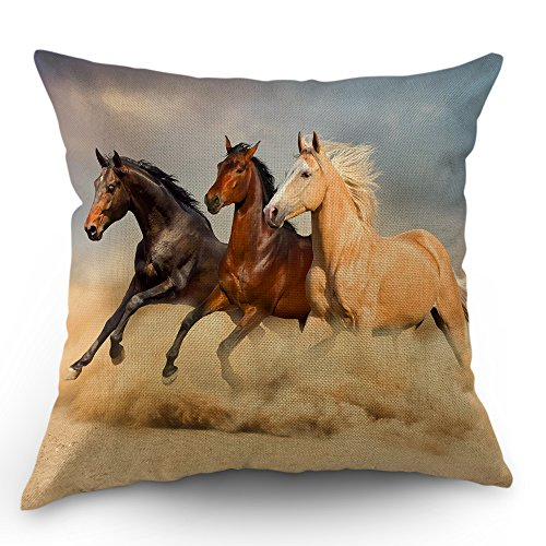 Moslion Horse Pillows Decorative Throw Pillow Cover Case Horses Run in The Wild Wind Sand Cotton Linen Pillow Case 18x18 Inch Square Cushion Cover for Sofa Bedroom Beige Brown ()