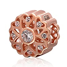 Choruslove Rose Gold Love Openwork Charm 925 Sterling Silver Clear Cubic Zircon Bead for Valentines Bracelet Gift