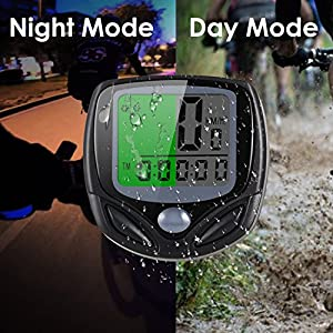 Sospers Bike Computer Waterproof, Wireless Speedometer Automatic Wake-up, Bicycle Odometer Multi-function (Small-Basic)