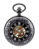 Infinite U Cool Black Secret Roman Numerals Hollow Skeleton Steel Mechanical Movement Pocket Watch