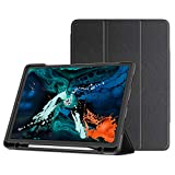 Bovon iPad Pro 11 Case with Apple Pencil Holder, [Support Magnetically Attach/Charge/Pair] Tri-fold Stand Case with Soft TPU Back Protection for Apple iPad Pro 11 Inch 2018