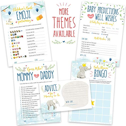 Baby Shower Games for Boys | Blue Elephant Theme | Pack of 5 Activities for 50 Guests, 5x7 Inch Cards | Includes Baby Predictions, Baby Bingo, Emoji | Baby Boy Shower Favors Decorations Party Supplies ()