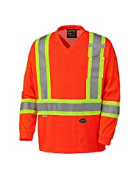 Pioneer V1050950-XL High Visibility Long Sleeve Safety Shirt, Micro Mesh, Orange, XL