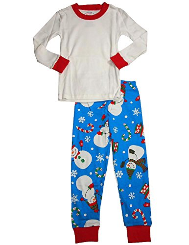 Sara's Prints - Little Boys Long Sleeve Snowman Pajamas, White, Blue 32718-3 (Name Of The Boy In The Snowman)
