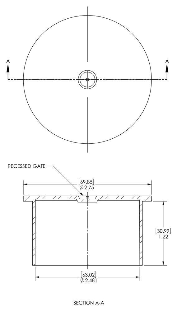 PE-LD Straight-Thread Cap to Cap Thread Size 2-1//2 PO-180 to Cap Thread Size 2-1//2 Natural Caplugs QPO180Q1 Plastic Push-On Pack of 100