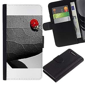 Sony Xperia Z3 Compact / Z3 Mini (Not Z3) - Dibujo PU billetera de cuero Funda Case Caso de la piel de la bolsa protectora Para (The Ladybug And Leaf)