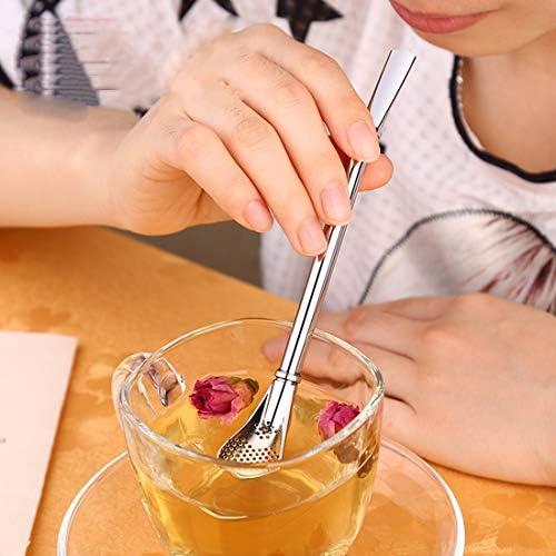コーヒー&ティー用品 ステンレススチールティーリーフフィルタードリンクストローハーブティーフィルターティーストレーナージュースカフェコーヒースターリングスプーン