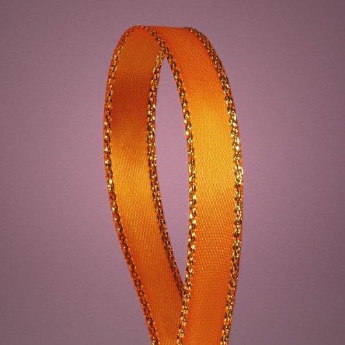 (Orange Satin Ribbon with Gold Edges, 3/8