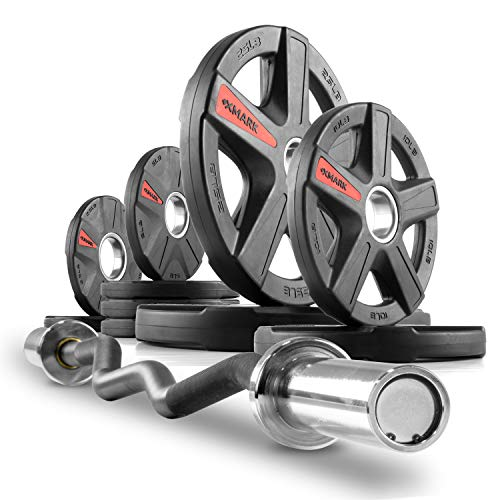 XMark XM-3675 Olympic EZ Curl Bar and 95 lb Texas Star Olympic Plate Weight Set, Olympic Bar Upgraded with Brass Bushings, Premium Quality Rubber Coated Weight Plates (One Piece Bar)