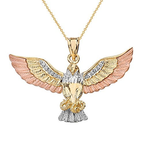 Solid 10k Three-Tone Gold CZ Eagle Hawk Catching Snake Pendant Necklace, ()