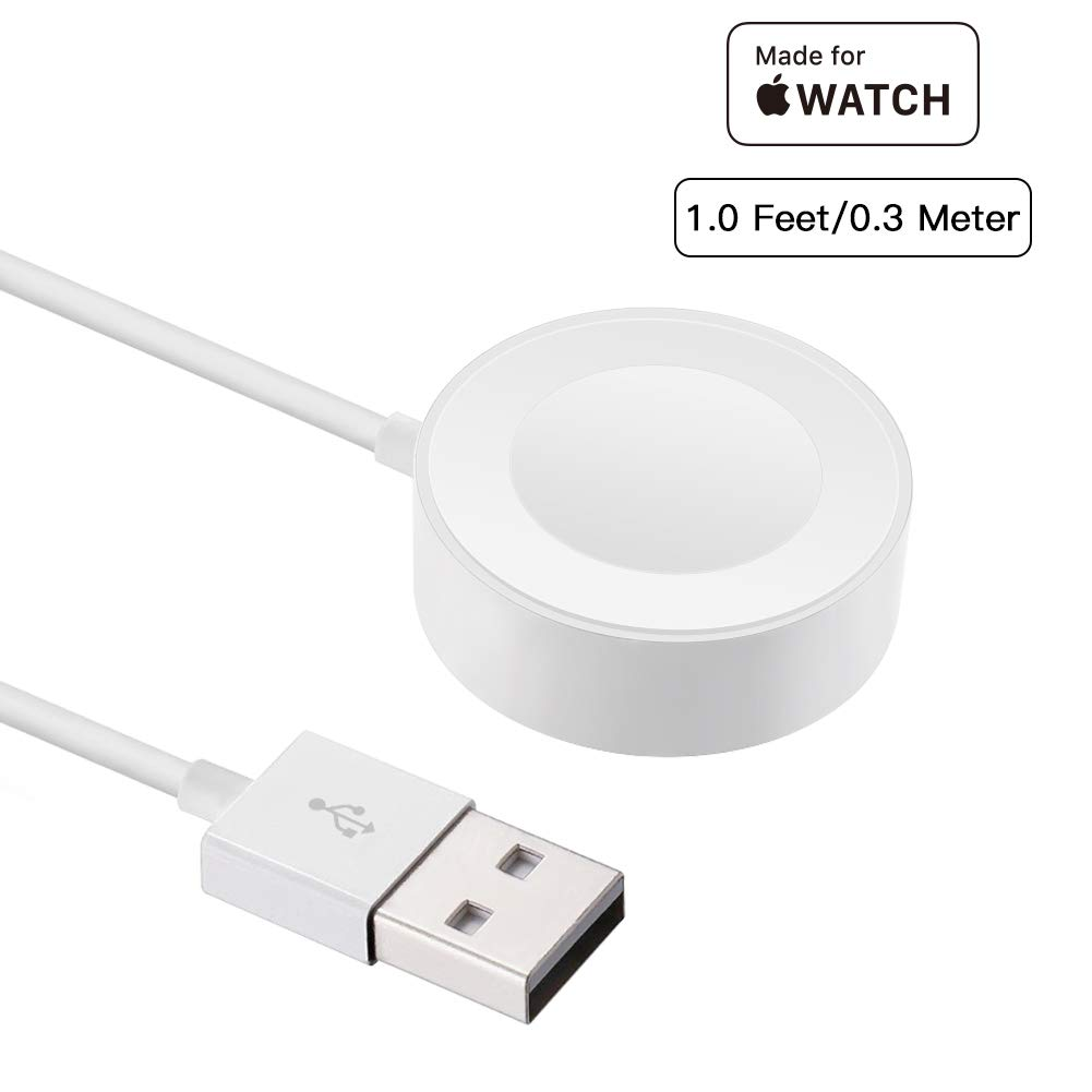 Apple Watch Charger Pad and iWatch Magnetic USB Charging Cable/Cord for 38mm & 42mm Series 1/2/3 (0.3m/1ft) [ Apple MFi Certified ]