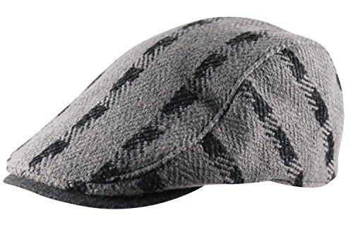 Men's Flat Cap Hat Cheviot Stripe Pre Curved Lined Gatsby Golf Newsboy Wool Mix Grey & Black (Stripe Mix Wool)