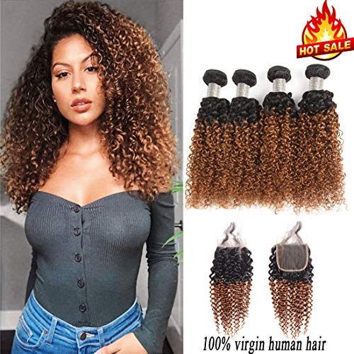 Jiuling 2 Tone Ombre Kinky Curly 4 Bundles with Closure(14161820+12,1B/30) Wet and Wavy Ombre Brazilian Kinky Curly Human Hair weaves (Best Kinky Curly Weave)
