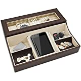 Personalized Leather Valet Tray Box - Custom Monogrammed Mens Dresser Organizer Catchall (Brown)
