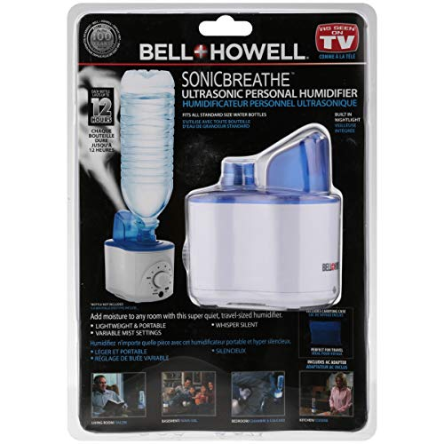 Bell+Howell Ultrasonic Personal Portable Humidifier-Cool Mist- lasts up to 12 hours per water bottle (Bell & Howell Sonic Breathe Ultrasonic Personal Humidifier)