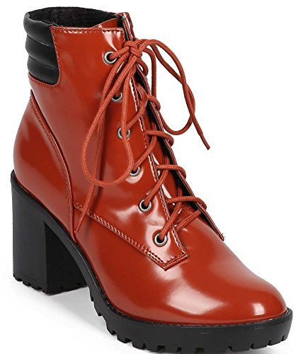 Breckelles RANGER-21 Womens Basic Block Heel Lace Up Military Ankle Booties (7.0 B(M) US Womens, Coral)