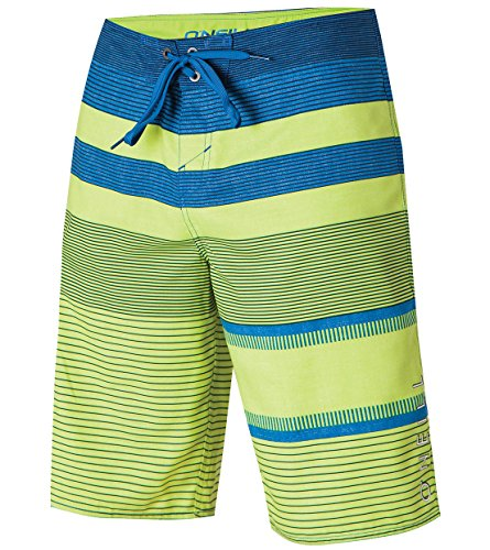 Phantom Aquatics Oneill Mens Stripe Boardshort, Lime Blue - 34, Lime Blue, Size 34