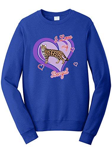 Tenacitee Men's Bengal Cat Sweatshirt, Large, Royal Blue
