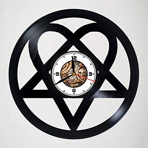 H.I.M - Heartagram - HANDMADE Vinyl Wall Clock - Perfect gifts for birthday wedding anniversary valentine's mother's father's day - Gift ideas for men and women him and her - Customize your clock !
