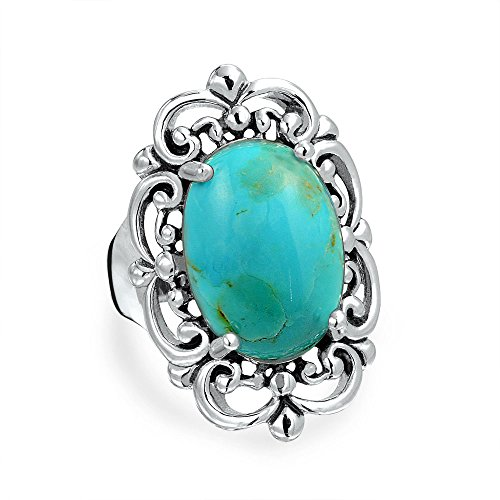 Vintage Style Large Filigree Oval Boho Armor Full Finger Statement Stabilized Turquoise Ring For Women Sterling Silver