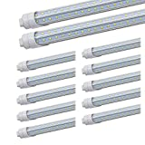 JESLED R17D/HO 8FT LED Bulb - Rotate V shaped, 5000K Daylight 50W, 6750LM, 110W Equivalent F96T12/DW/HO, Clear Cover, T8/T10/T12 Replacement, Dual-Ended Powered, Ballast Bypass, Pack of 12