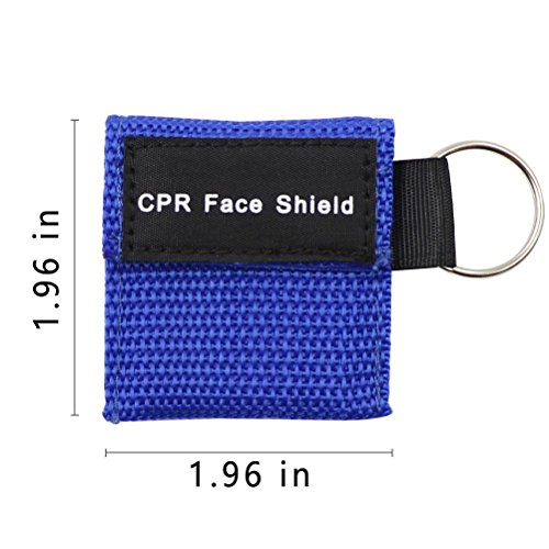 10pcs CPR Mask Keychain Ring Emergency Kit CPR Face Shields for First Aid or CPR Training (Blue-10)