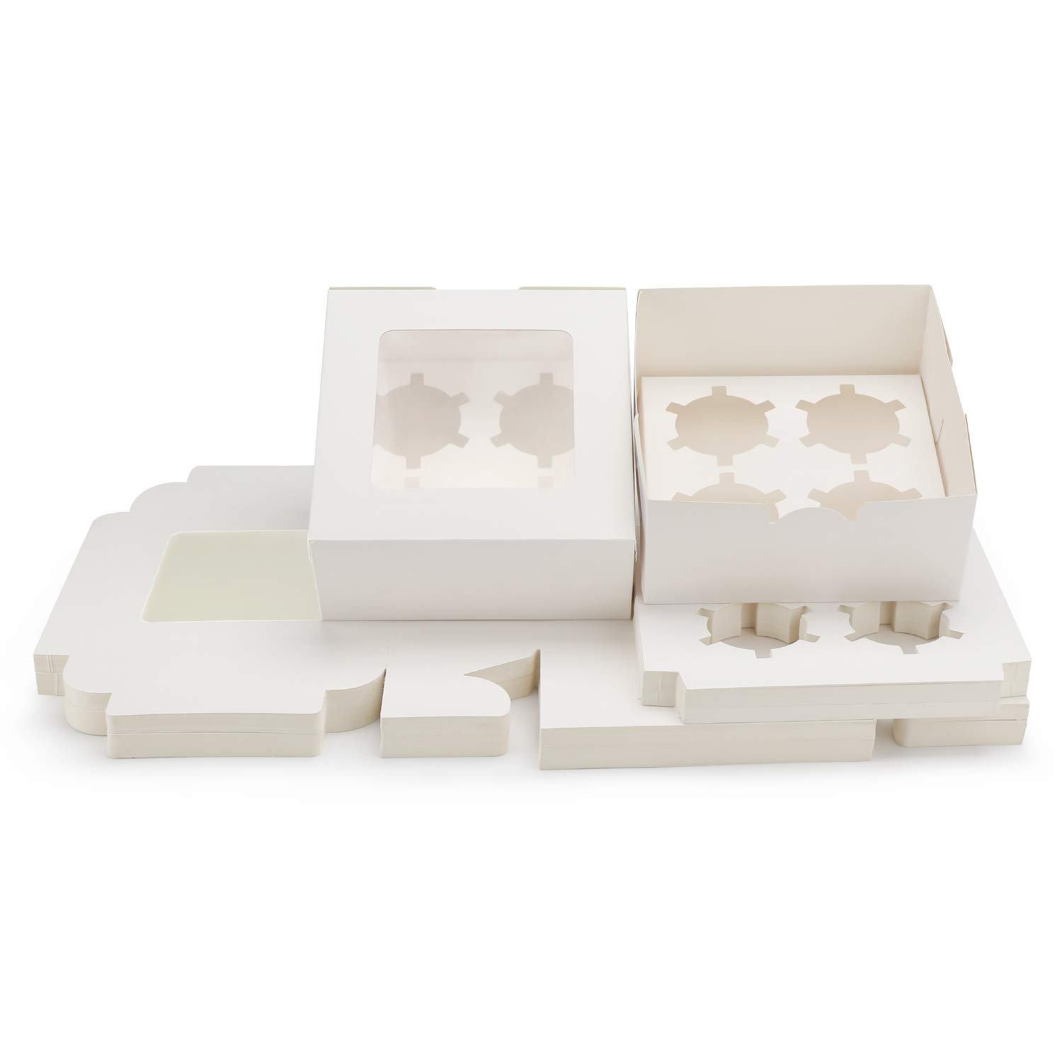 Kraft Cupcake Boxes, Eusoar 50pcs Food Grade White Color Cupcake Carrier with Insert and Display Window Fits 4 Cupcakes or Muffins (6.4'' x 6.3'' inch)