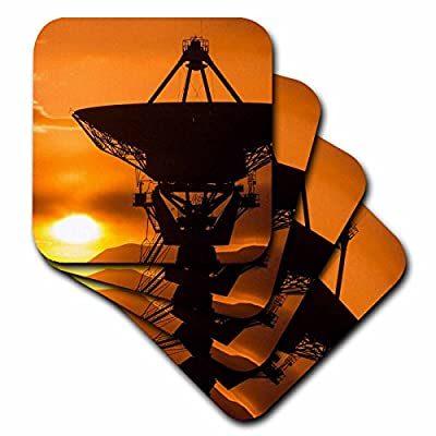 3dRose cst_259759_1 Radio Telescope At Sunset, Plains of San Agustin, Socorro, New Mexico, Set of 4 Soft Coasters