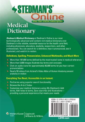 Stedman\'s Online Medical Dictionary Access Code: Amazon.de ...