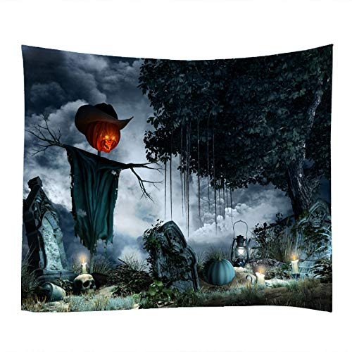 (Halloween Cemetery Tree Print Decorative Throw Fabric Tapestry Wall Hanging Art Decor for Living Room and Bedroom 79x59)